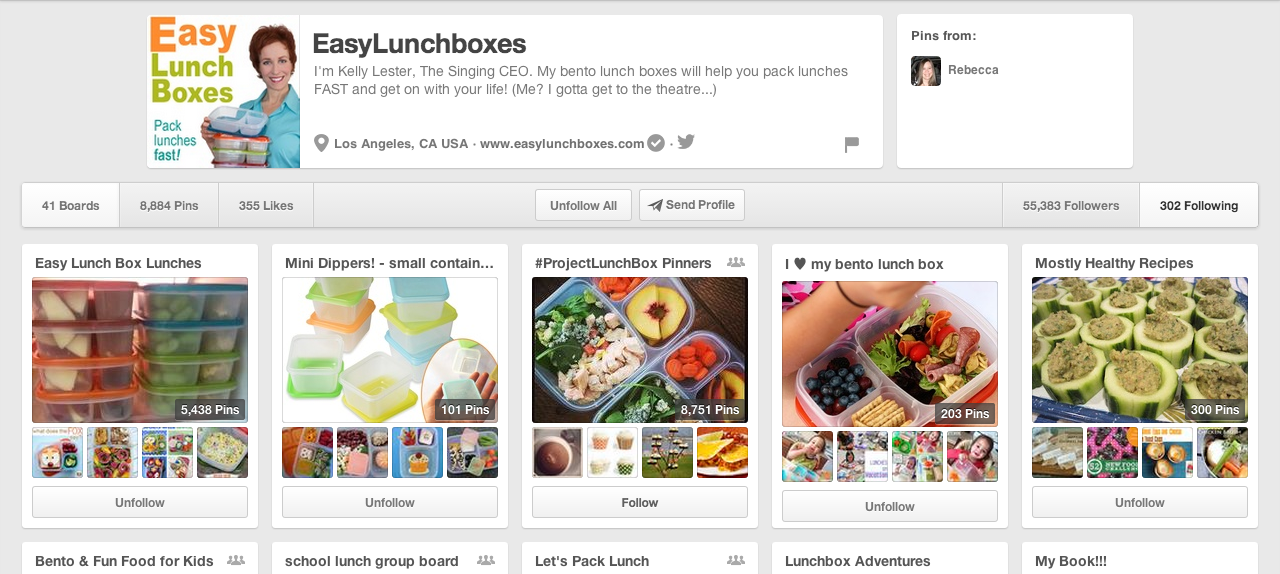 Kelly Lesters Easy Lunchboxes Pinterest Profile