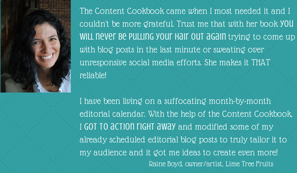 raine boyd testimonial content cookbook