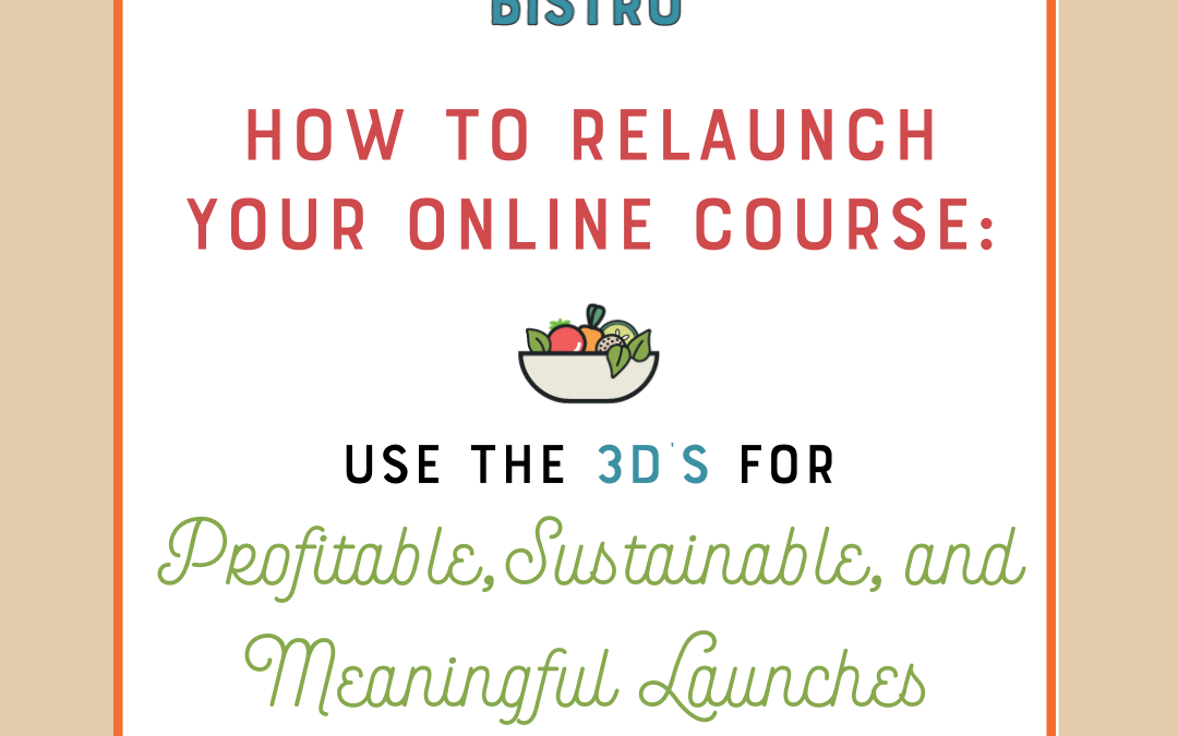 How to Relaunch Your Online Course: Use the 3Ds for Profitable, Sustainable, and  Meaningful Launches